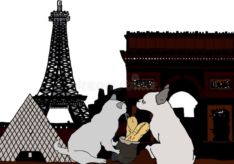 Σκιαγραφία Margot και καβγατζής στο Παρίσι με τον πύργο του Άιφελ και το μουσείο ανοιγμάτων εξαερισμού ελεύθερη απεικόνιση δικαιώματος