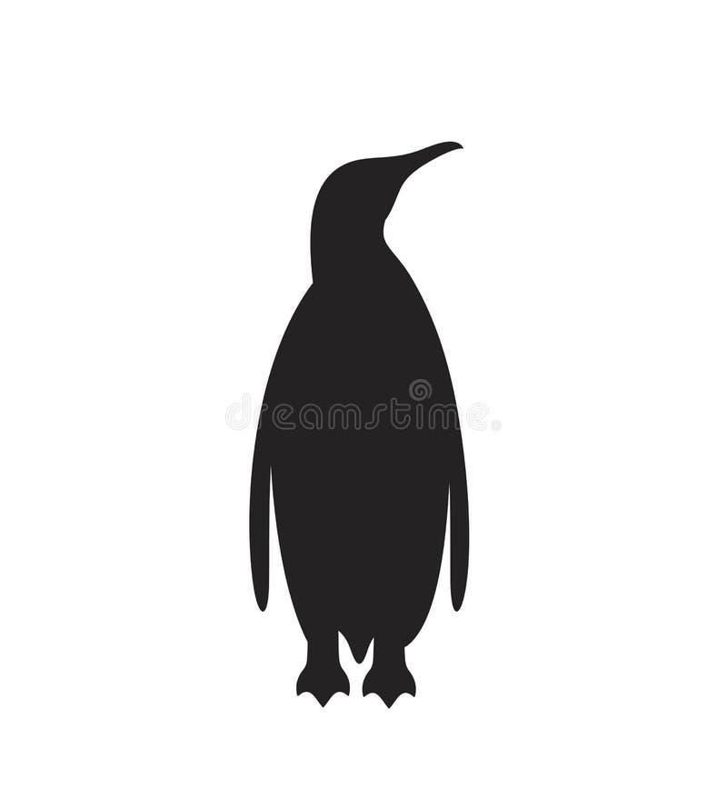 Σκιαγραφία Penguin Απομονωμένος penguin στο άσπρο backgroun Πουλί ελεύθερη απεικόνιση δικαιώματος
