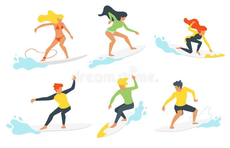 Σκιαγραφία Surfer με το κύμα διανυσματική απεικόνιση