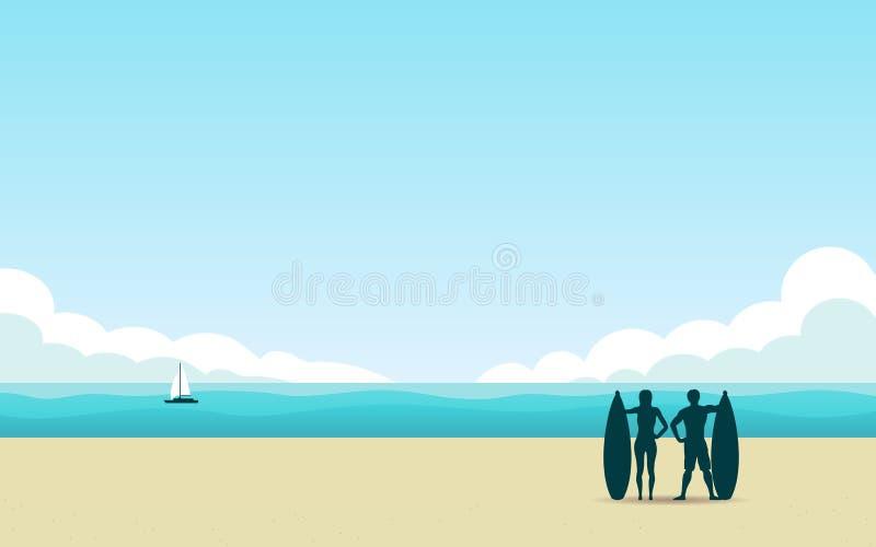 Σκιαγραφία surfer στην παραλία το μεσημέρι με τον μπλε ουρανό χρώματος στο επίπεδο υπόβαθρο σχεδίου εικονιδίων διανυσματική απεικόνιση