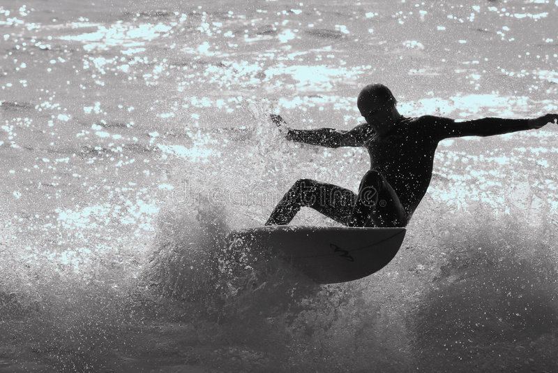 σκιαγραφία surfer στοκ φωτογραφία