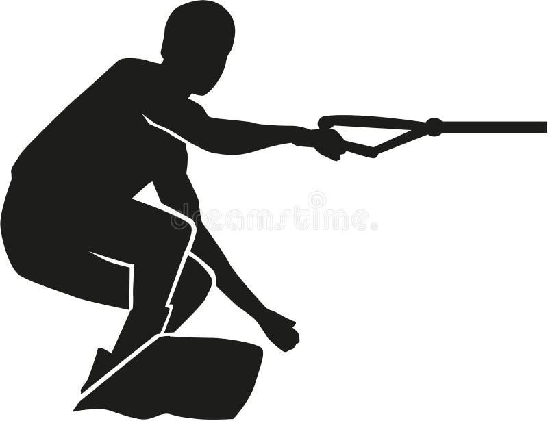 Σκιαγραφία Wakeboard πραγματική ελεύθερη απεικόνιση δικαιώματος