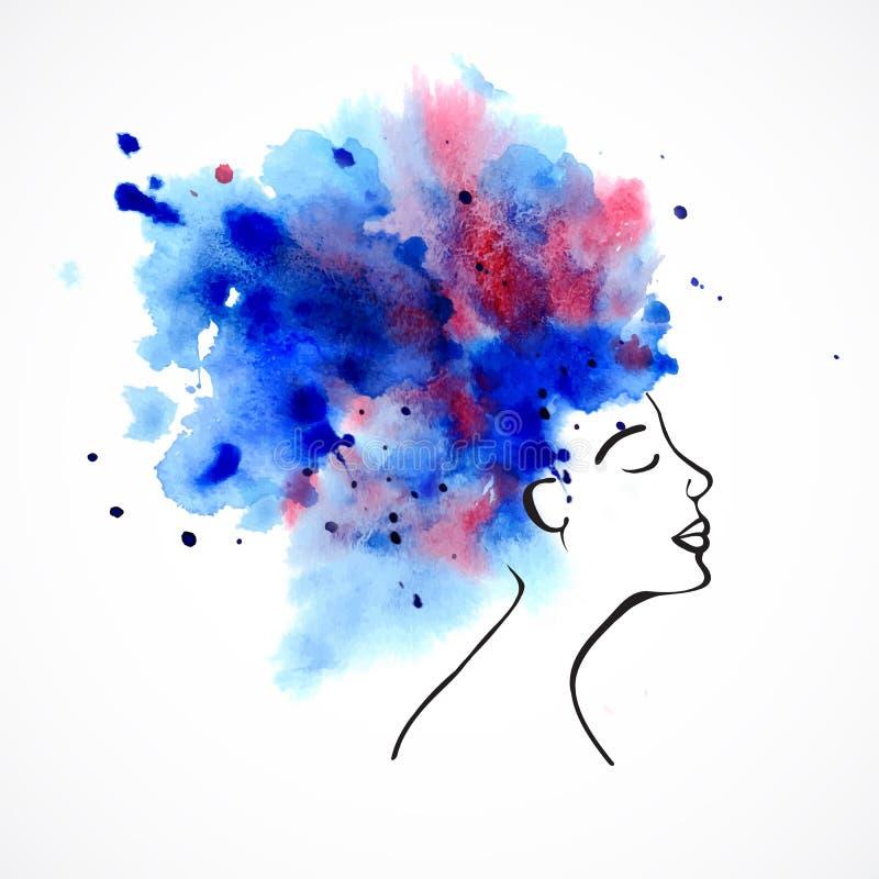 Σκιαγραφία Watercolor των όμορφων γυναικών ελεύθερη απεικόνιση δικαιώματος
