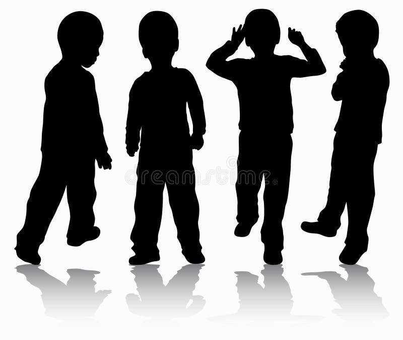 Σκιαγραφίες αγοριών ελεύθερη απεικόνιση δικαιώματος