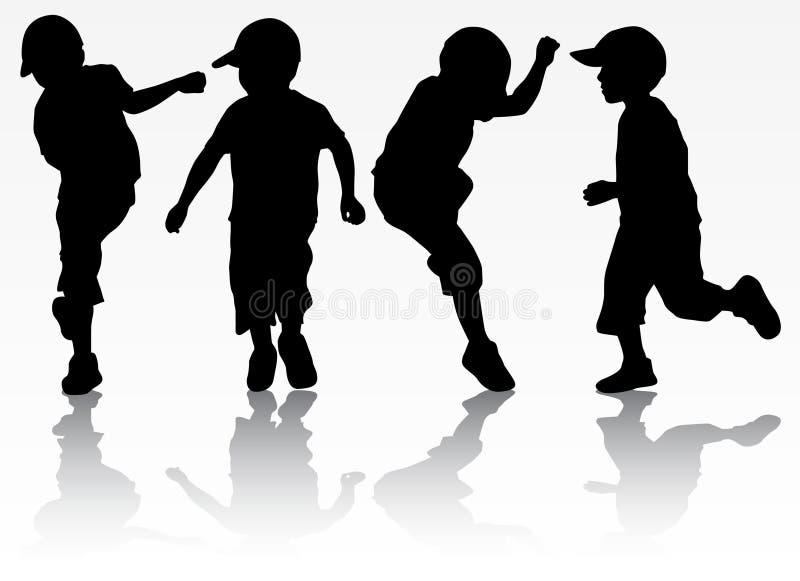 Σκιαγραφίες αγοριών απεικόνιση αποθεμάτων