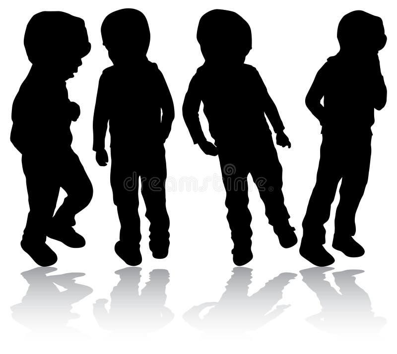 Σκιαγραφίες αγοριών διανυσματική απεικόνιση