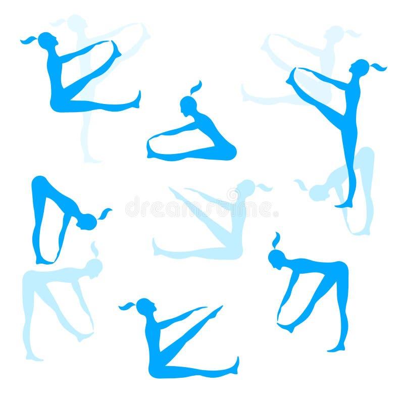 Σκιαγραφίες αθλητριών Διανυσματική μπλε συλλογή εικόνων χρώματος απεικόνιση αποθεμάτων