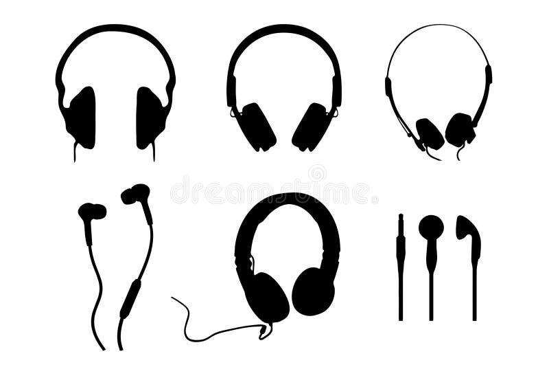 Σκιαγραφίες ακουστικών στοκ φωτογραφία με δικαίωμα ελεύθερης χρήσης