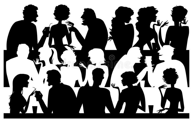 σκιαγραφίες ανθρώπων καφέ ελεύθερη απεικόνιση δικαιώματος