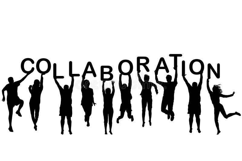 Σκιαγραφίες ανθρώπων που κρατούν την επιστολή με τη συνεργασία λέξης απεικόνιση αποθεμάτων
