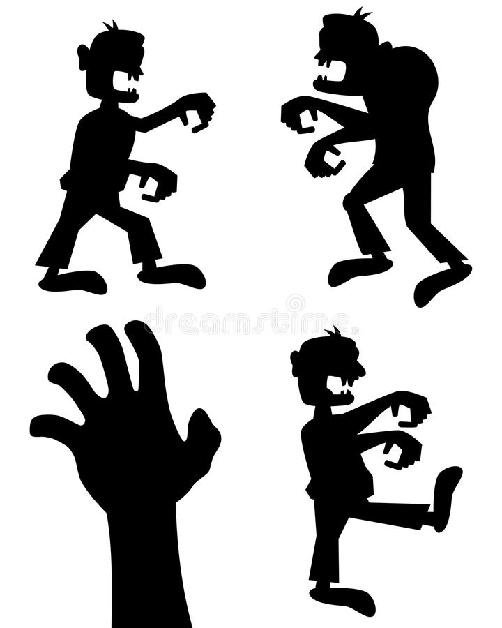 Σκιαγραφίες αποκριών Zombie καθορισμένες απεικόνιση αποθεμάτων