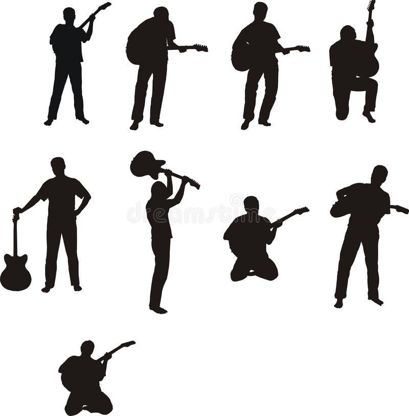 σκιαγραφίες ατόμων κιθάρ&omeg ελεύθερη απεικόνιση δικαιώματος
