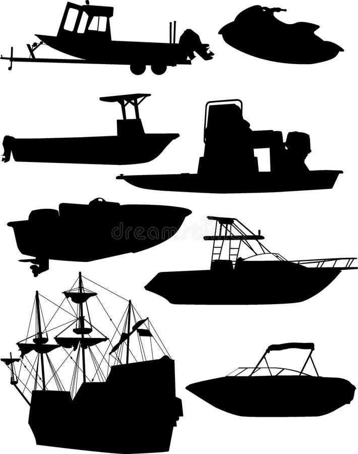 σκιαγραφίες βαρκών απεικόνιση αποθεμάτων