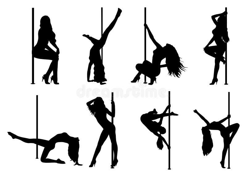 Σκιαγραφίες γυναικών χορού Πολωνού ελεύθερη απεικόνιση δικαιώματος