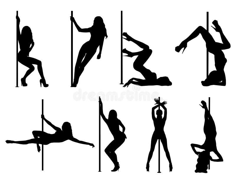 Σκιαγραφίες γυναικών χορού Πολωνού διανυσματική απεικόνιση