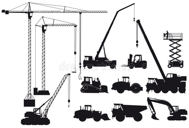Σκιαγραφίες εξοπλισμού κατασκευής ελεύθερη απεικόνιση δικαιώματος
