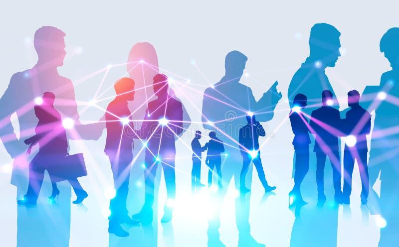 Σκιαγραφίες επιχειρηματιών, έννοια σύνδεσης στοκ φωτογραφία με δικαίωμα ελεύθερης χρήσης