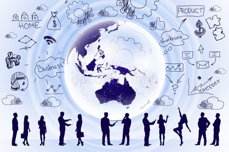 Σκιαγραφίες επιχειρηματιών με τα σημάδια ελεύθερη απεικόνιση δικαιώματος