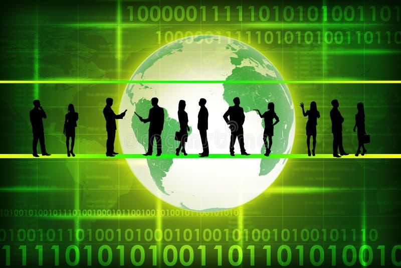Σκιαγραφίες επιχειρηματιών σε πράσινο ελεύθερη απεικόνιση δικαιώματος