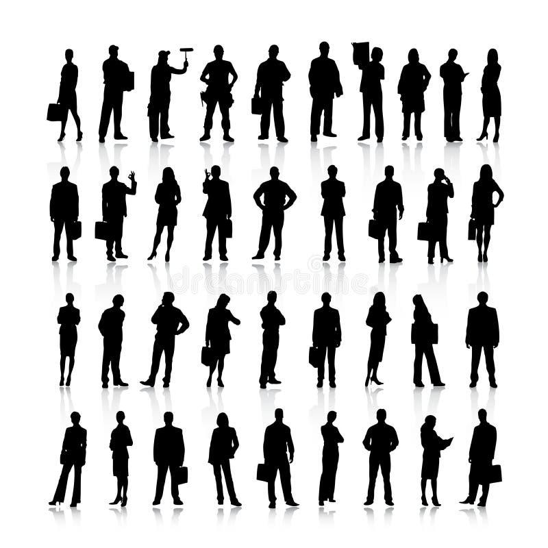 Σκιαγραφίες επιχειρηματιών διανυσματική απεικόνιση