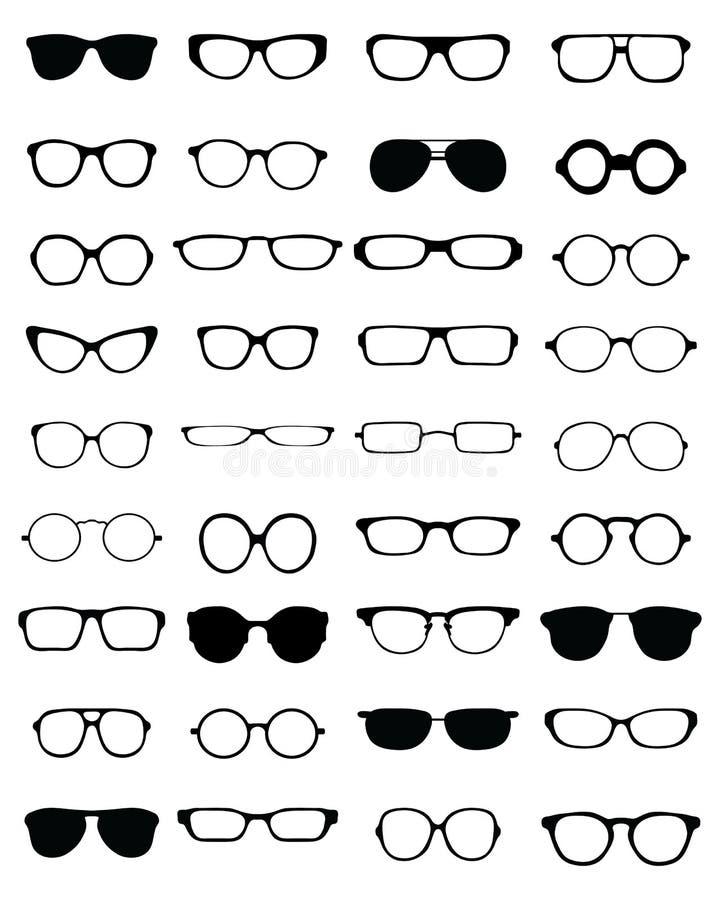 Σκιαγραφίες διαφορετικά eyeglasses ελεύθερη απεικόνιση δικαιώματος