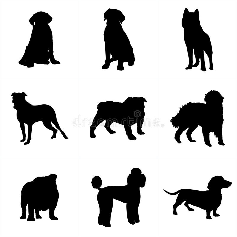 Σκιαγραφίες και εικονίδια σκυλιών διανυσματική απεικόνιση