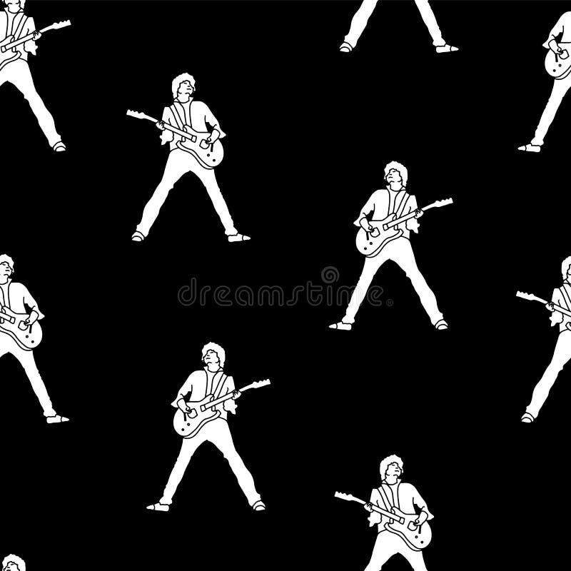 Σκιαγραφίες κιθαριστών μουσικών Διανυσματική άνευ ραφής απεικόνιση προτύπων Άσπρες σκιαγραφίες σε ένα μαύρο υπόβαθρο Μεγάλος για  διανυσματική απεικόνιση