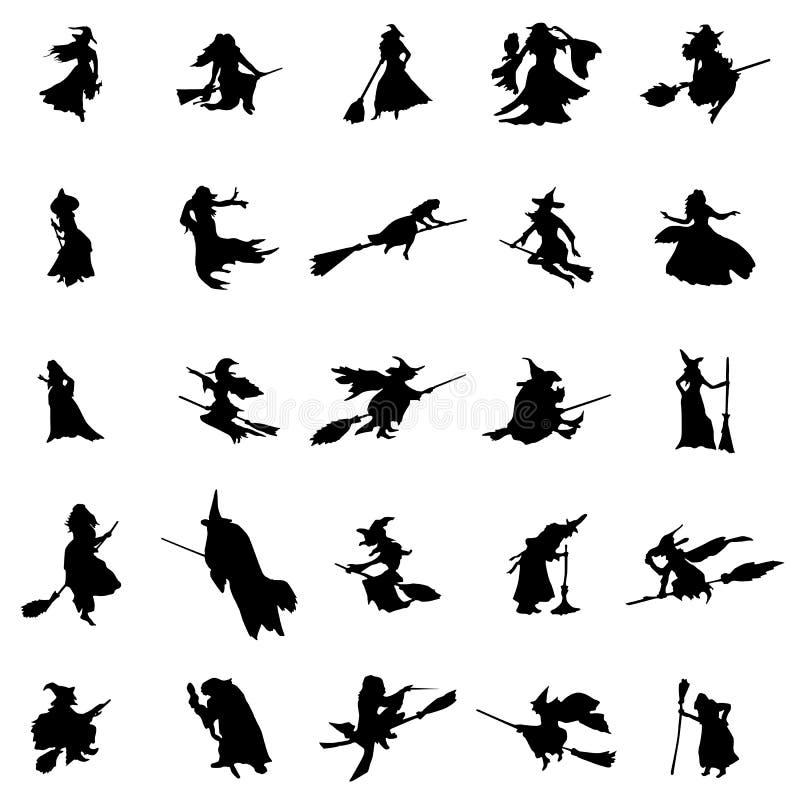 Σκιαγραφίες μαγισσών καθορισμένες διανυσματική απεικόνιση