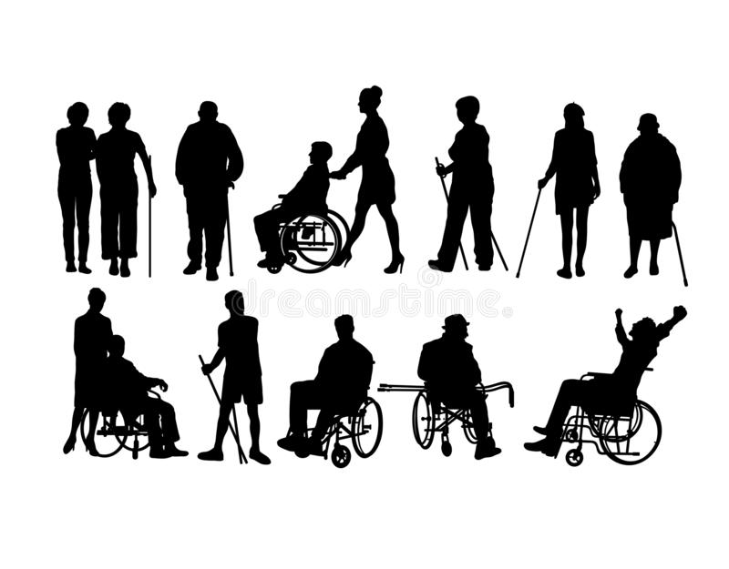 Σκιαγραφίες με ειδικές ανάγκες ατόμων ελεύθερη απεικόνιση δικαιώματος