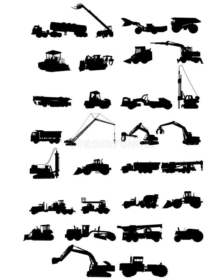 Σκιαγραφίες μηχανημάτων κατασκευής ελεύθερη απεικόνιση δικαιώματος