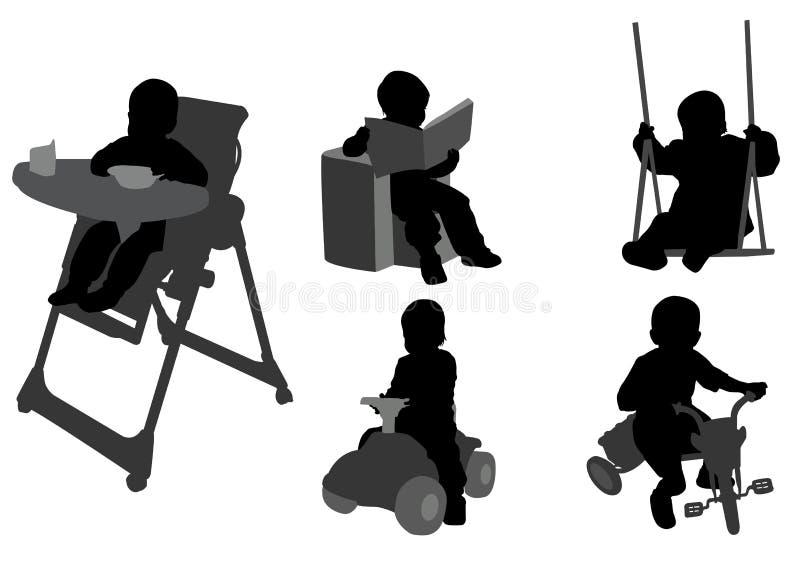 Σκιαγραφίες μικρών παιδιών απεικόνιση αποθεμάτων