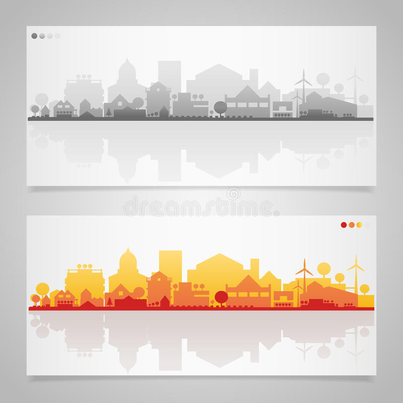 Σκιαγραφίες μικρών πόλεων και χωριών πολύχρωμος απεικόνιση αποθεμάτων