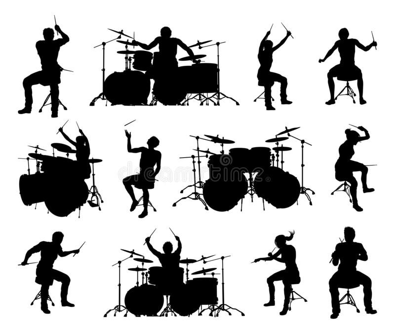Σκιαγραφίες μουσικών τυμπανιστών διανυσματική απεικόνιση