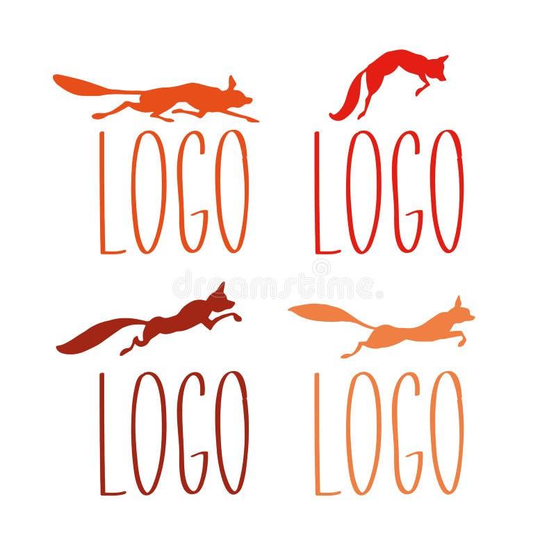 Σκιαγραφίες λογότυπων αλεπούδων στοκ εικόνα