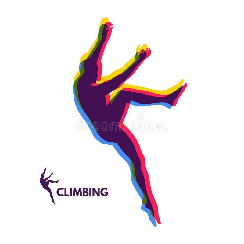 Σκιαγραφίες ορειβατών βράχου Αθλητισμός Bouldering επίσης corel σύρετε το διάνυσμα απεικόνισης ελεύθερη απεικόνιση δικαιώματος