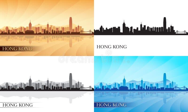 Σκιαγραφίες οριζόντων πόλεων Χονγκ Κονγκ καθορισμένες διανυσματική απεικόνιση