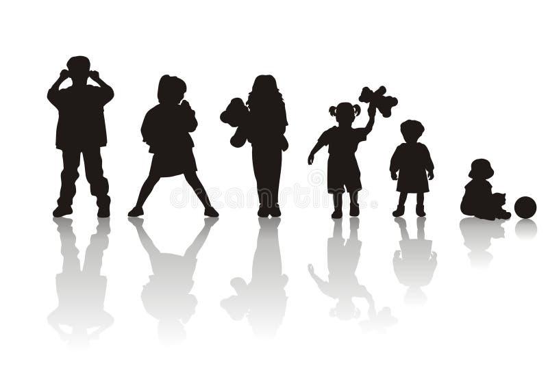 σκιαγραφίες παιδιών s απεικόνιση αποθεμάτων