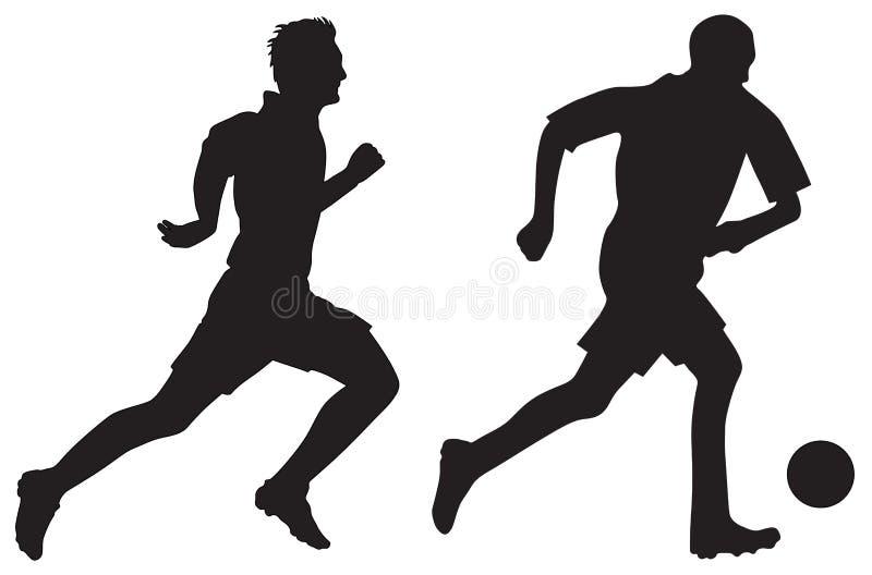 σκιαγραφίες ποδοσφαίρ&omicr διανυσματική απεικόνιση