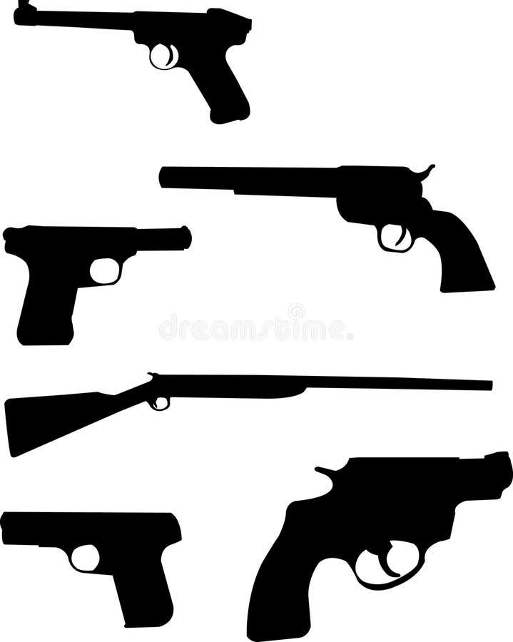 σκιαγραφίες πυροβόλων όπ& διανυσματική απεικόνιση
