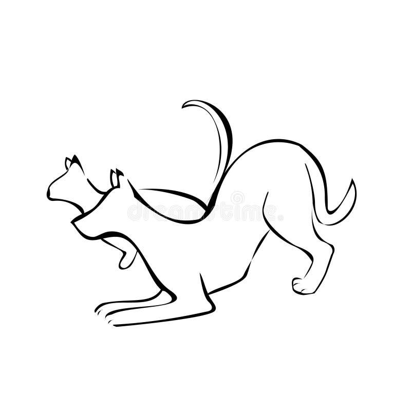σκιαγραφίες σκυλιών γατών απεικόνιση αποθεμάτων
