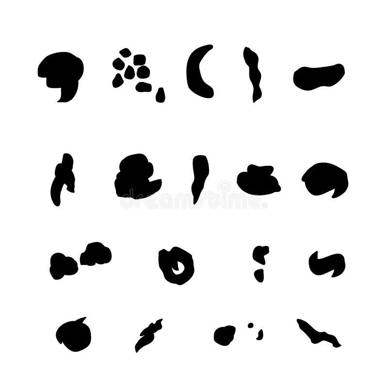Σκιαγραφίες συνόλου του απλού μαύρου εικονιδίου περιττωμάτων Σύμβολο επίστεγων Περίττωμα σημαδιών για το κύπελλο τουαλετών, σύγχρ διανυσματική απεικόνιση