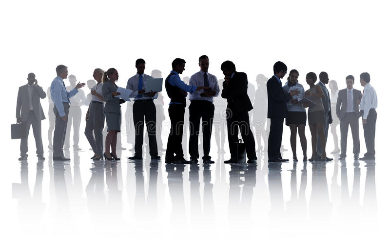 Σκιαγραφίες της εταιρικής εργασίας επιχειρηματιών στοκ εικόνες