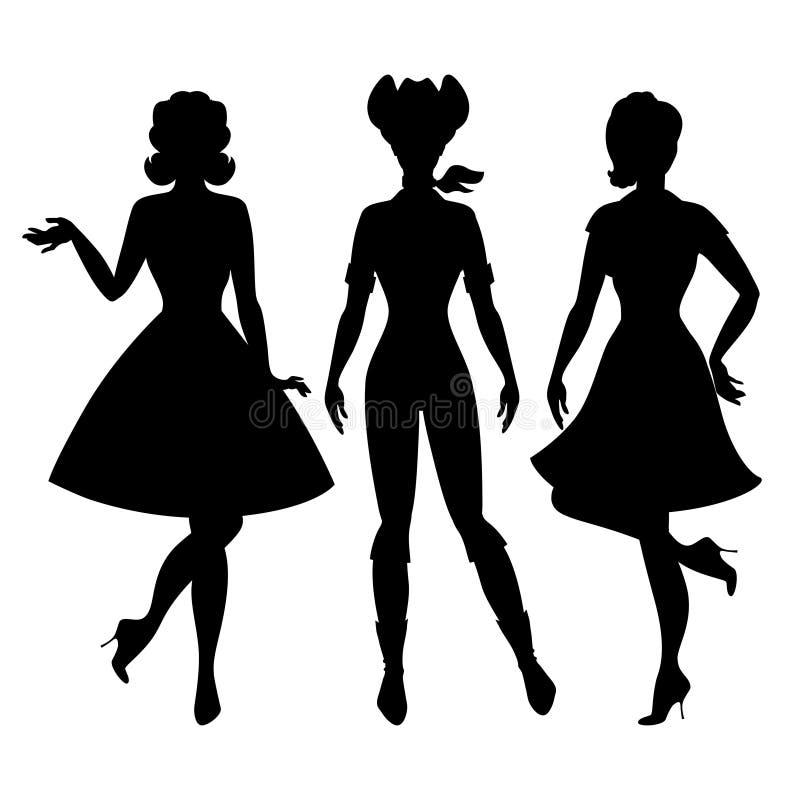 Σκιαγραφίες της όμορφης καρφίτσας επάνω στο ύφος της δεκαετίας του '50 κοριτσιών απεικόνιση αποθεμάτων
