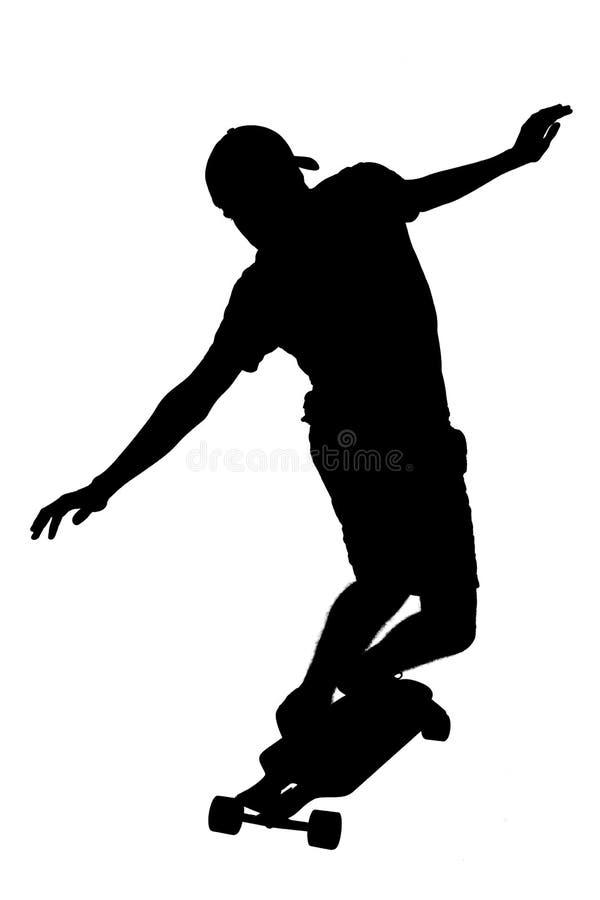 Σκιαγραφίες του αγοριού σκέιτερ στοκ φωτογραφία με δικαίωμα ελεύθερης χρήσης