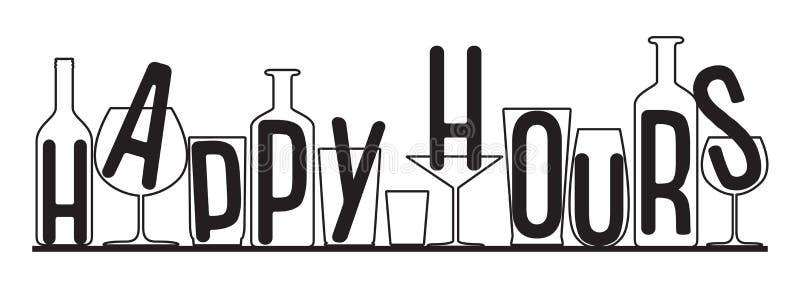 Σκιαγραφίες του ευτυχούς χρόνου ωρών γυαλιών και μπουκαλιών απεικόνιση αποθεμάτων