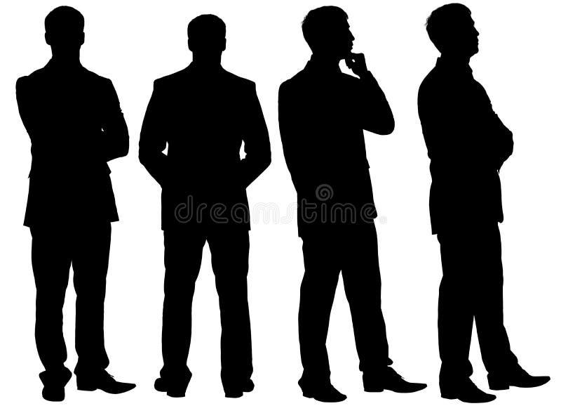 Σκιαγραφίες του σκεπτόμενου επιχειρηματία στις διαφορετικές στάσεις διανυσματική απεικόνιση