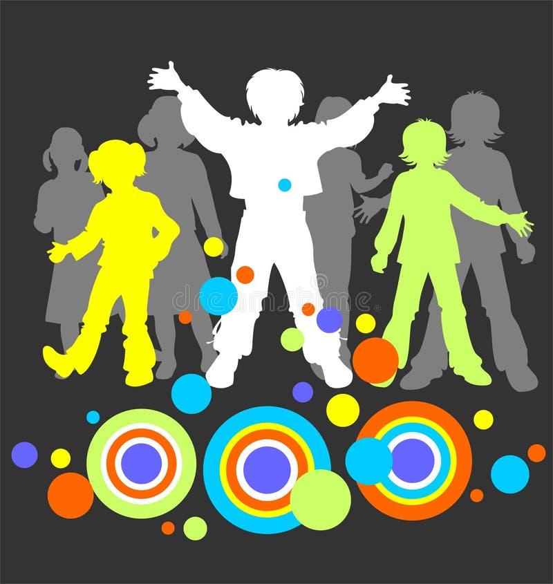 σκιαγραφίες τρία παιδιών ελεύθερη απεικόνιση δικαιώματος