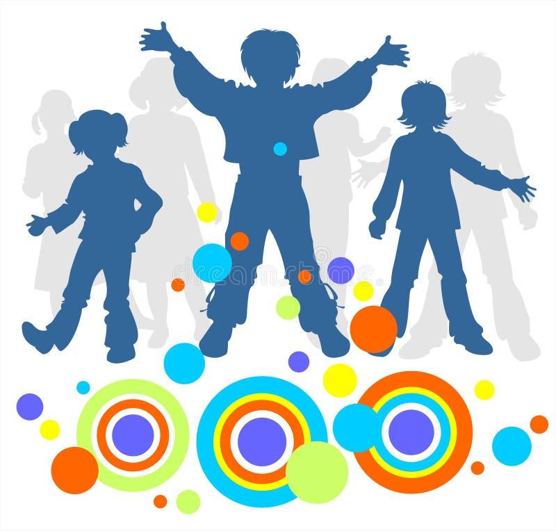 σκιαγραφίες τρία παιδιών διανυσματική απεικόνιση