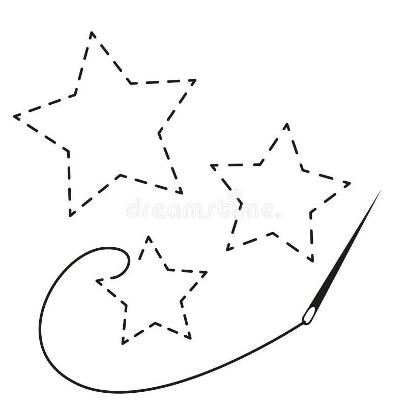 Σκιαγραφίες τριών αστεριών με το διακεκομμένο περίγραμμα Διανυσματική απεικόνιση της χειροποίητης εργασίας με το νήμα και τη βελό ελεύθερη απεικόνιση δικαιώματος