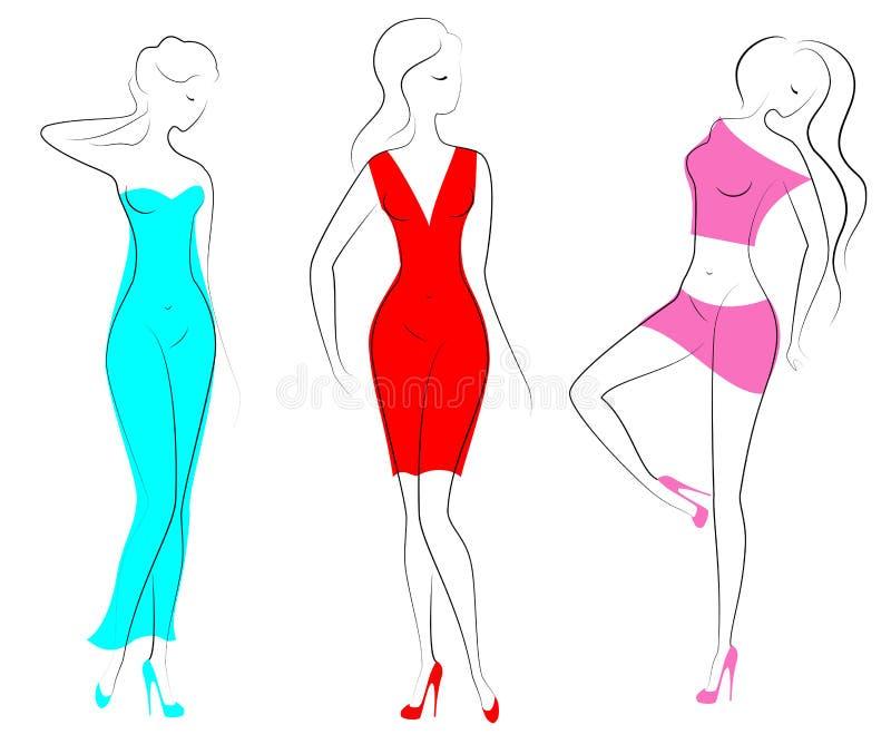 Σκιαγραφίες τριών καλών κυριών Τα όμορφα κορίτσια στέκονται σε διαφορετικό θέτουν Οι γυναίκες είναι ντυμένες στα διαφανή ενδύματα απεικόνιση αποθεμάτων